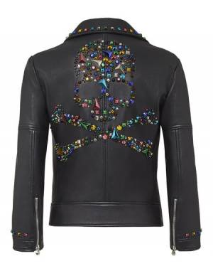 "Philipp Plein Women's Leather Biker Jacket ""I'M THE ONE"""