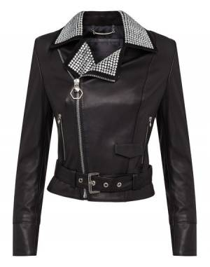 "Philipp Plein Leather Biker Jacket ""JEWELL"""