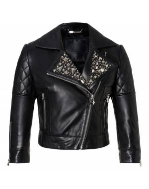 "Philipp Plein ""KEZIA"" Cropped Leather Biker Jacket"