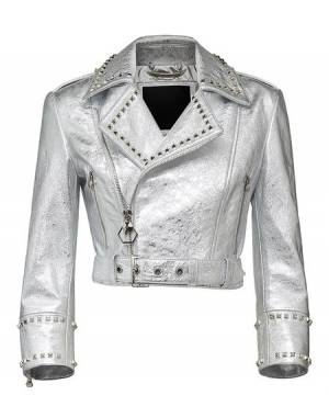 "Philipp Plein ""NEW MIND STYLE"" Cropped Leather Biker Jacket"