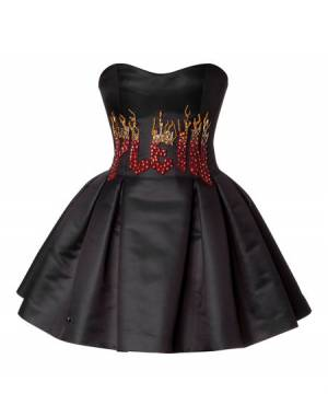 "Philipp Plein ""WE SHOULD TAKE IT FAR"" Strapless Duchess Mini Dress"