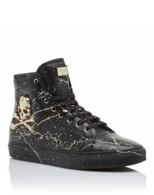 "Philipp Plein Men's Sneakers ""THE WAVE FLASH"" Skull Hi-Tops"