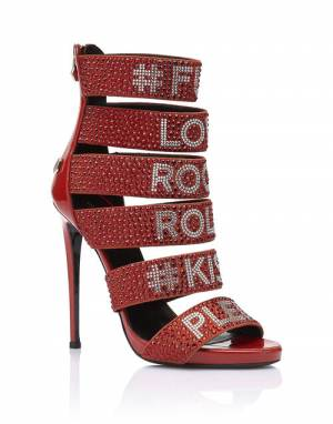 "Philipp Plein ""LOVES ROCK AND ROLL"" High Heels Sandals"