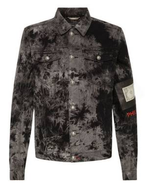 "Philipp Plein Denim Jacket ""DOLLAR"" Men's Grunge Fashion"