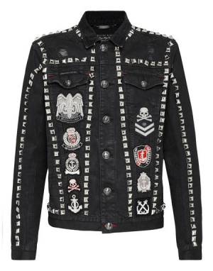 "Philipp Plein Denim Jacket ""STUDS"" Men's Clothing"
