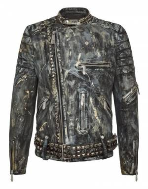 "Philipp Plein Leather Jacket ""Edgy Biker"""