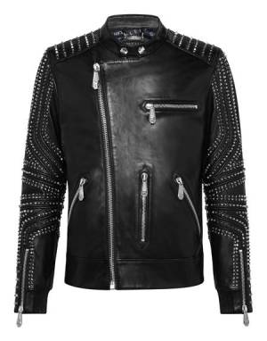 "Philipp Plein Men's Leather Jacket ""Studs"""