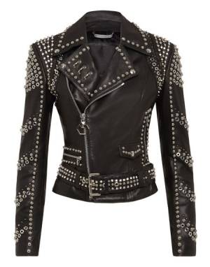 "Philipp Plein Leather Jacket ""BIKER STUDS"" Women's Luxury Fashion"