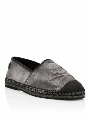 "Philipp Plein Men's Espadrilles ""Denim Skull"""