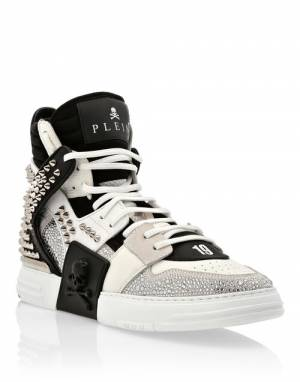 "Philipp Plein Sneakers ""Men's High-Top Studded Phantom Kick$ Skull"""