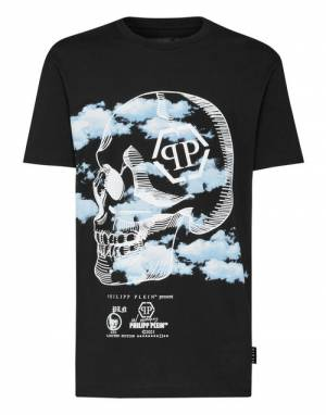 "Philipp Plein Men's T-Shirt ""Skull Clouds"""