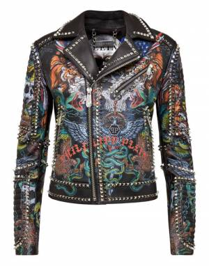 "Philipp Plein Women's Leather Jacket ""Biker Tattoo"""