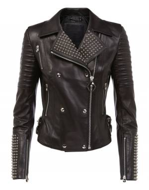 "Philipp Plein Women's Leather Biker Jacket ""DUNN MARLENE"""