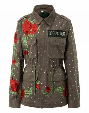 "Philipp Plein Women's Military Parka Jacket ""DEAREST ONE"" Patchwork"