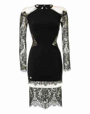 "Philipp Plein Women ""LACED LACK"" Cocktail Bodycon Dress"