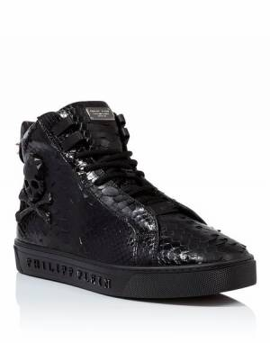 "Philipp Plein Men ""EMERALD"" Skull Hi-Top Sneakers"