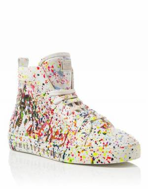 "Philipp Plein Men ""ALEC TWO"" White Hi-Top Sneakers"