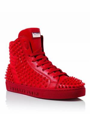 "Philipp Plein Men ""BURNING TOGETHER"" Studded Hi-Top Sneakers"