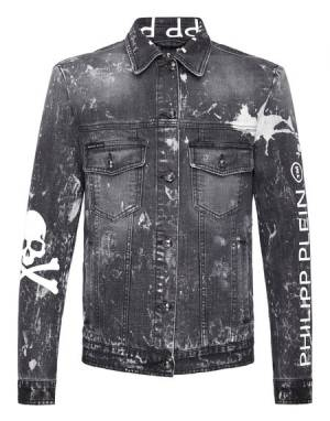 "Philipp Plein Men's Denim Jacket ""GRUNGE SKULL"""