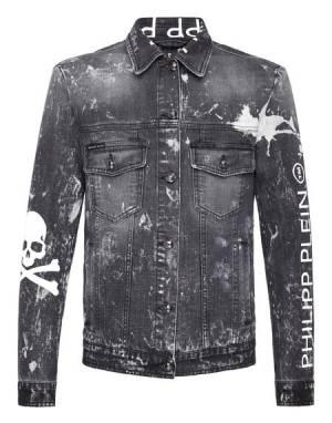 """Philipp Plein Men's Denim Jacket """"GRUNGE SKULL"""""""