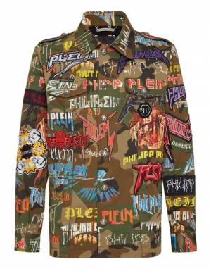 "Philipp Plein Men's Camo Denim Jacket ""PP PATCHES"""