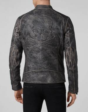 "Philipp Plein Men's Leather Jacket ""SKULL MOTO"""