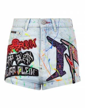 "Philipp Plein Women's Denim Shorts ""Rock Patches"""