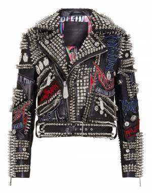 "Philipp Plein Women's Leather Jacket ""STUDDED BIKER ROCK"""