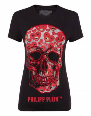 "Philipp Plein Women's T-Shirt ""SKULL HEARTS"""