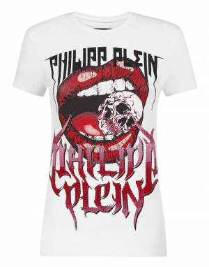 "Philipp Plein T-Shirt ""Rock Skull Vampire Lips"""