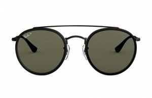 Ray-Ban Round Double Bridge Black, Polarized Green Lenses - RB3647N