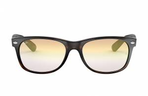 Ray-Ban New Wayfarer Flash Gradient Lenses Low Bridge Fit Tortoise, Yellow Lenses - RB2132F