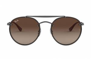 Ray-Ban Blaze Round Double Bridge Gunmetal, Brown Lenses - RB3614N