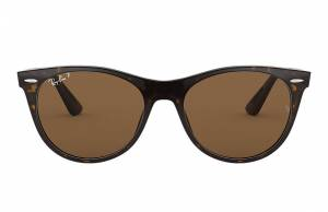 Ray-Ban Wayfarer II Classic Spotted Havana, Polarized Brown Lenses - RB2185