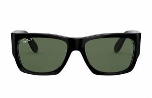 Ray-Ban Nomad Shiny Black, Polarized Green Lenses - RB2187
