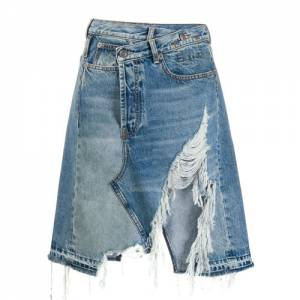 "R13 Denim Skirt ""Distressed Jasper"""