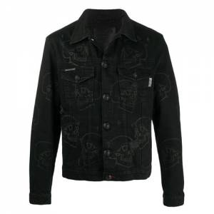 "Philipp Plein Men's Denim Jacket ""Skulls"""