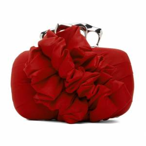 "Alexander McQueen Clutch Bag ""Red Ruffled Four-Ring Box"""