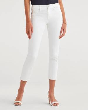 7 For All Mankind Roxanne Ankle with Raw Hem in White Fashion
