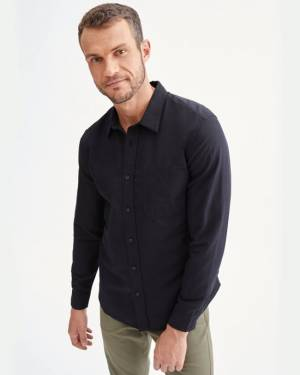 7 For All Mankind Signature One Pocket Shirt in Black