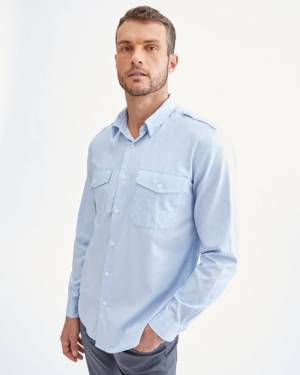 7 For All Mankind Uniform Shirt in Pale Blue