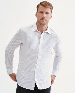 7 For All Mankind Printed Pinstripe Shirt in White