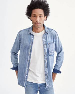 7 For All Mankind Indigo Selvedge Shirt in Stone Wash