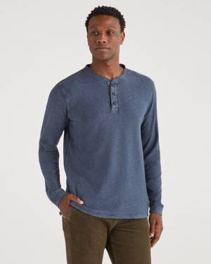 7 For All Mankind Brooklyn Signature Slub Henley in Navy