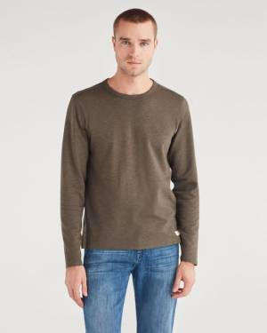 7 For All Mankind Double Face Long Sleeve Crew Neck in Heather Army