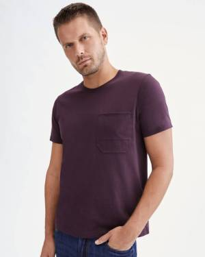 7 For All Mankind Pocket Tee in Burgundy
