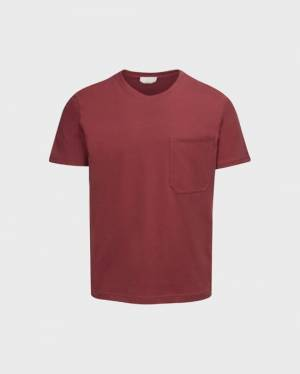 7 For All Mankind Cotton Pocket Tee in Faded Red