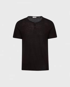 7 For All Mankind Short Sleeve Linen Henley in Black