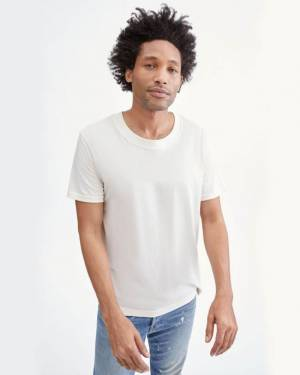 7 For All Mankind Modern Tee in Ivory