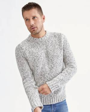 7 For All Mankind Chunky Marled Sweater in Salt & Pepper